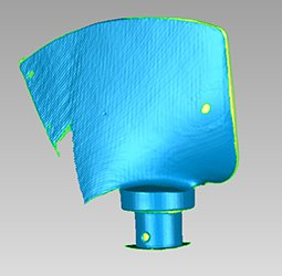CAD model of a turbine paddle created on basis of laser scanning output