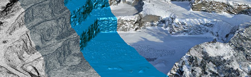 Digital Terrain Model – from the left side: Point cloud, mesh model, rendered surface model and textured 3D model