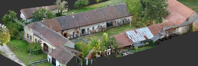 3D documentation of the farm buildings as-built in the village Koupě