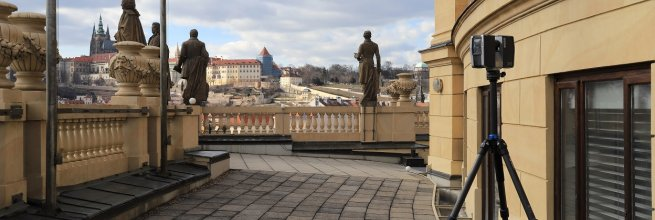 3D model teras novorenesanční budovy Rudolfina v Praze