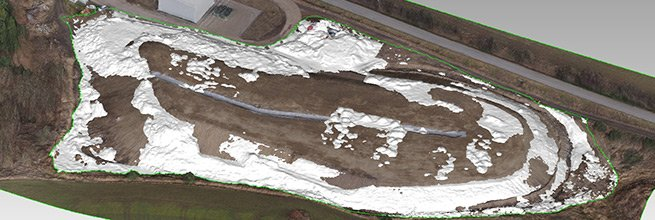 Orthophoto Map of a Landfill and Moved Material Volume Calculation