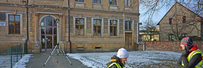 Drawing documentation of Art Nouveau building facades of primary school in Kopidlno